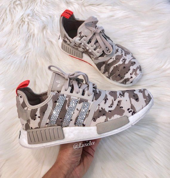 best service a0f10 aa385 Adidas NMD R1 Off White  Camo Pack customized with SWAROVSKI® Xirius  Rose-Cut Crystals.