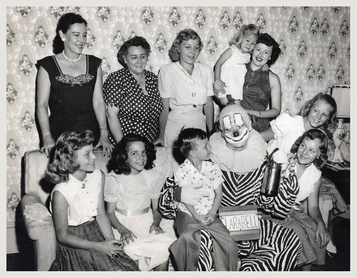 Bob Keeshan(Captain Kangeroo) as Clarabell the Clown posing with the French Family who owned the French's Ice Cream Company.