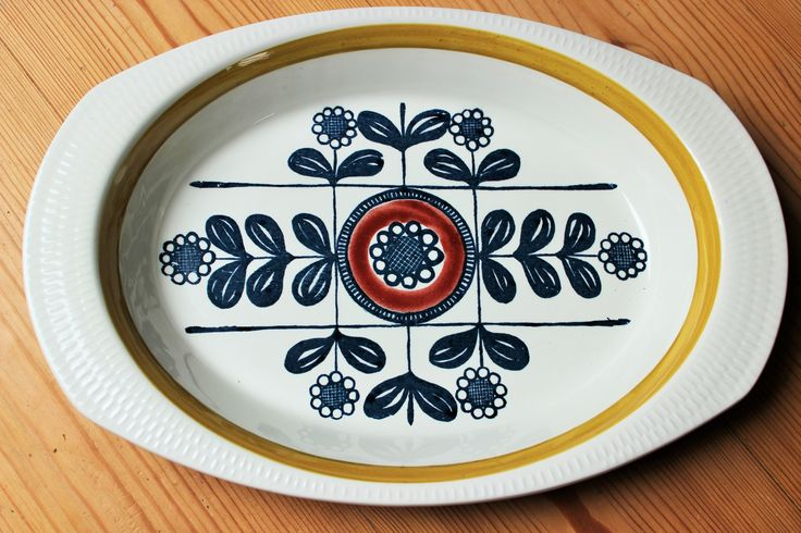 950's Stavanger flint Kon Tiki Oven Dish from Norway by Inger Waage
