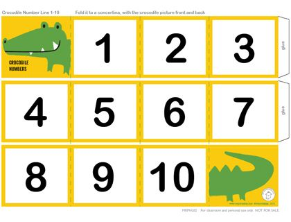 Crocodile Number Line 1 - 10    This can be a child's first number line with big numbers from 1 to 10. It's like a tiny accordian book with a crocodile on the front and back cover. This hungry croc has eaten up all of the numbers!