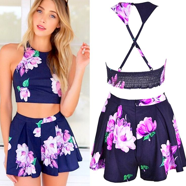 Product Description: Woman's Stylish Casual Floral Print Halter with Off-shoulder and Backless Crop Top and Shorts Set. Material: Polyester, Color: Blue, Collar: Halter, Pocket: No, Sleeve: Sleeveless