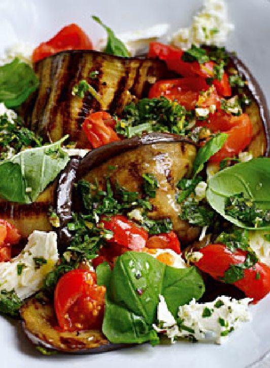 Low FODMAP Recipe and Gluten Free Recipe - Grilled tomato & eggplant salad http://www.ibssanoplus.com/grilled_tomato_eggplant_salad.html