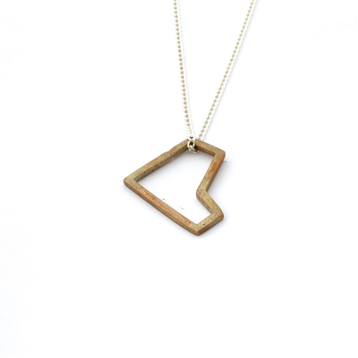 Heart pendant - Large Geometric bronze heart on chain. $33.00, via Etsy.