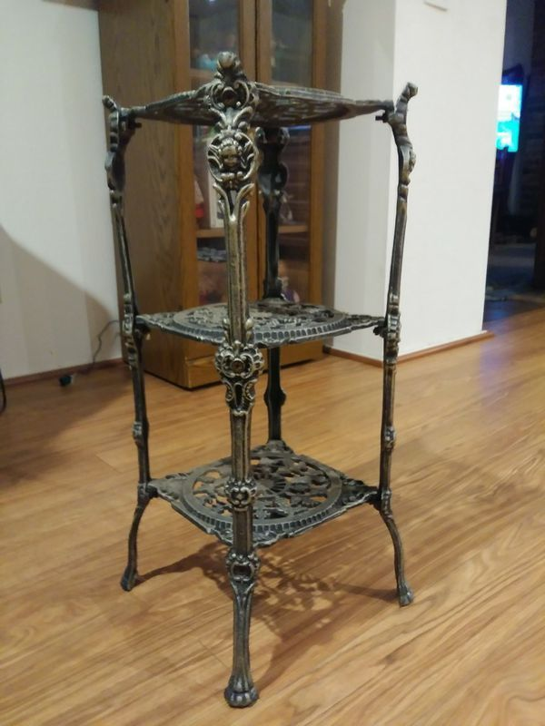 Ornate Antique 3 Tiered Iron Stand Heavy Grapes Pretty for