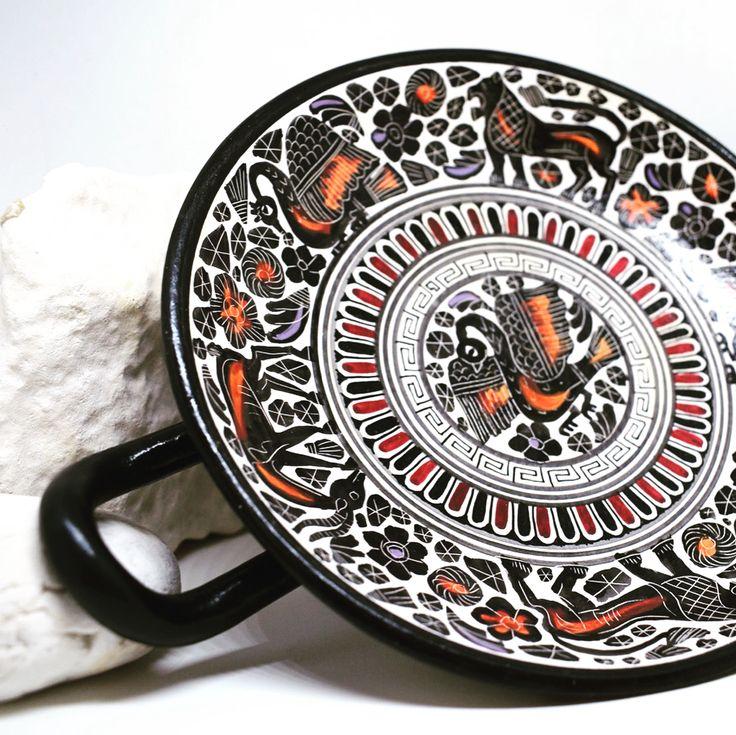 Greek Ancient Ceramic Kylix Vase of the Corinthian Style - Handmade in Greece (20cm / 7.87in diameter)