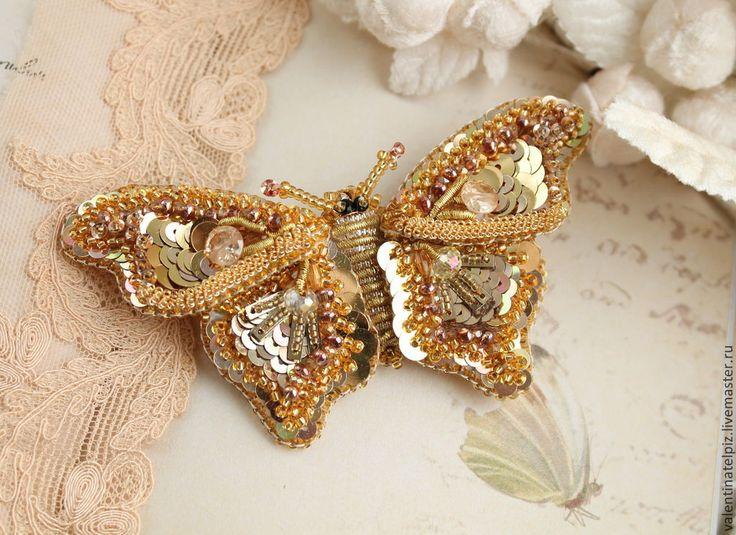 """Купить брошь """"Золотая бабочка"""" - золотой, брошь бабочка, золотая бабочка, брошка, ручная"""