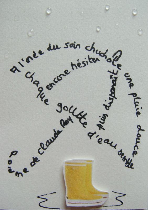 envoyée à Jean -Luc (calligramme Parapluie)