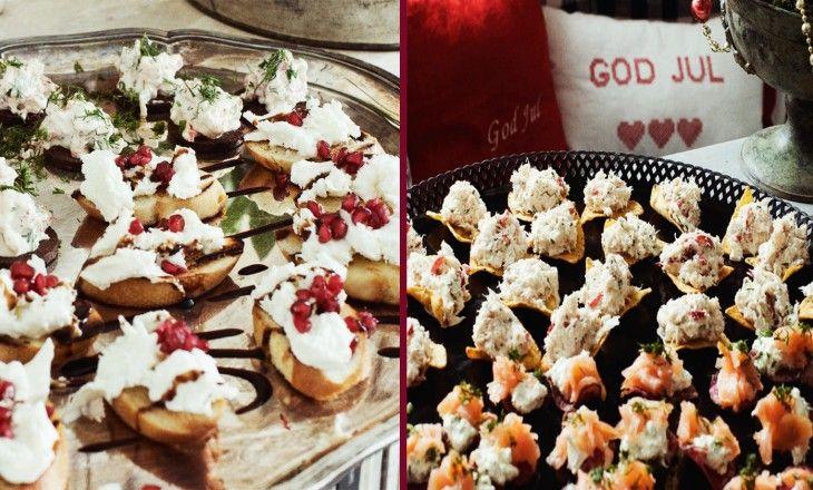 Fyra goda röror till julminglet: Krabba på tortillachips, Lax på rotfruktschips, Mozzarellabruschetta med granatäpple och Kräftröra på rågbröd.