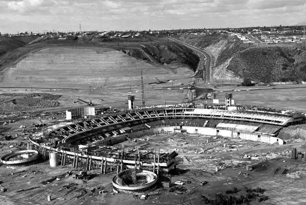 "Construction of Jack Murphy Stadium, now called ""Qualcomm Stadium"" in Mission Valley."