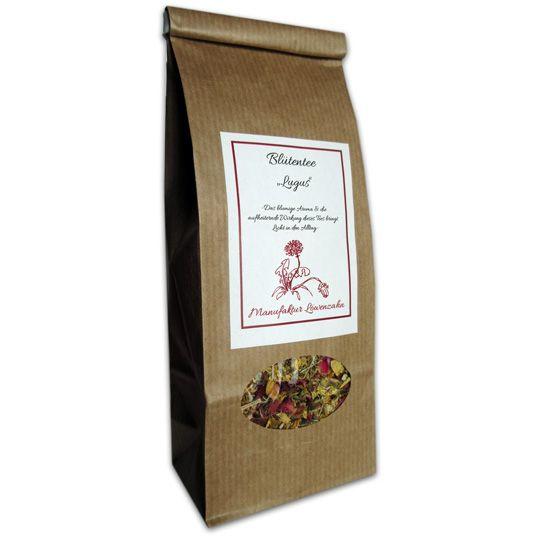 """Blütentee """"Lugus"""" 50 g Inhalt: Johanniskraut, Holunderblüten, Rosenblüten, Sonnenblumen, Schafgarbe Lugus der Lichtbringende aus der keltischen Mytholgie ist der Namensgeber für diesen Tee. Das blumige Aroma & die aufheiternde Wirkung die"""