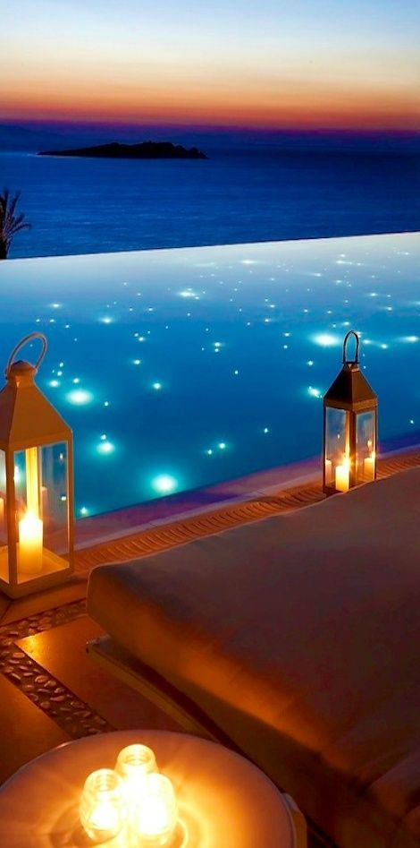 Pool with twinkling lights within. Another idea: lights could form constellations that mimic the night sky above.                                                                                                                                                                                 More