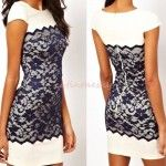 Amazing Bodycon Pencil Navy Blue Lace Cocktail Evening Party Dress