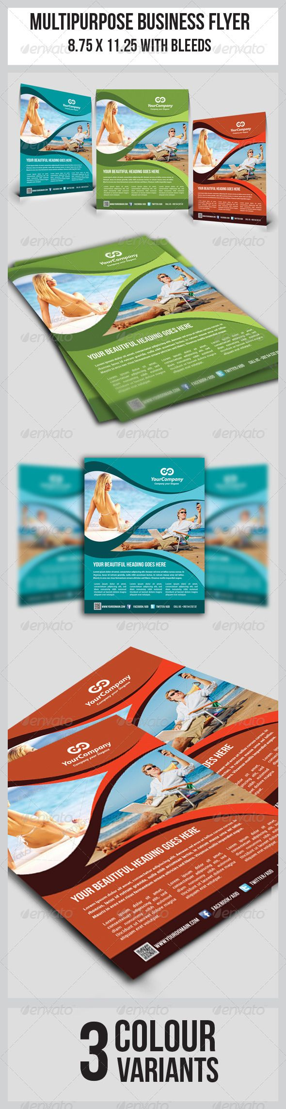 """Tourism Flyer Vol.1 #GraphicRiver This simple and generic flyer template perfectly use for multipurpose businesses. Easily edit to fit your needs. Colour : CMYK Files : .psd Size : 8.5"""" x 11"""" / 300dpi Fully layered Smart object layer to edit images images used are not included. help.txt included for fonts and images used details Fonts used: Myriad Pro .dafont /bebas-neue.font Created: 9July13 GraphicsFilesIncluded: PhotoshopPSD Layered: Yes MinimumAdobeCSVersion: CS4 Tags: a4 #advertising…"""