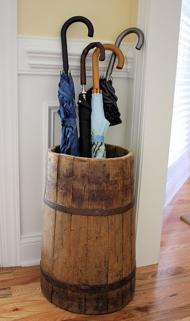Old Prim Wood Butter Churn... found new life as umbrella stand.