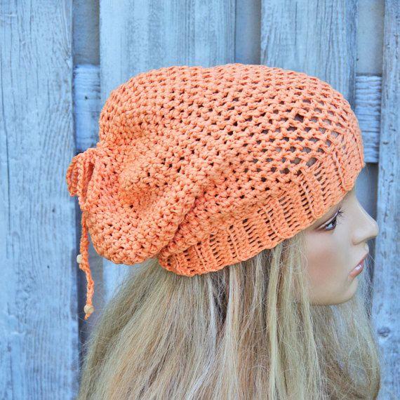 Summer beanie Hat Handmade Hat orange Crochet Hat Floppy Hat