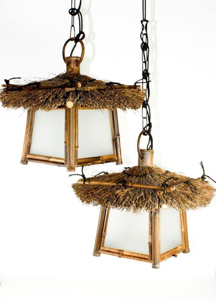 vintage tiki lamp swag lights hanging bamboo tropical bar restaurant mid century
