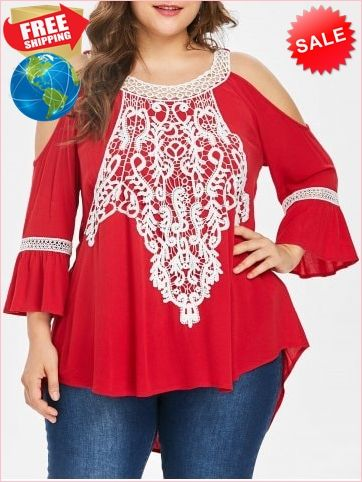 656a254be7d16 Best Prices Plus Size Flare Sleeve Cold Shoulder Blouse 2318562  jGIgTULApurv4FSDHNJa Cheap Sale  RoseGal.com