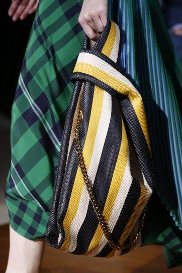 Borsa Stella McCartney a sacca a righe in bianco, giallo e nero