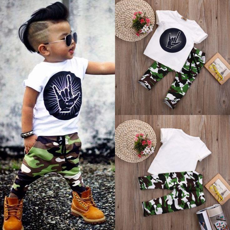 Stijlvolle Baby Peuter Kids Jongens Outfits Babies Boy Rock Gebaar Tops T-shirt + Camouflage Broek Outfit Set Kleren