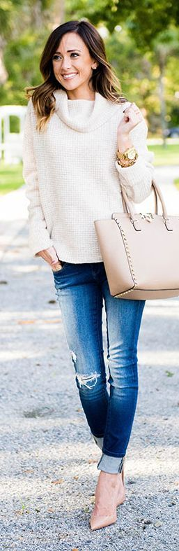 Cowl Neck Sweater Fall Inspo by Sequins & Things