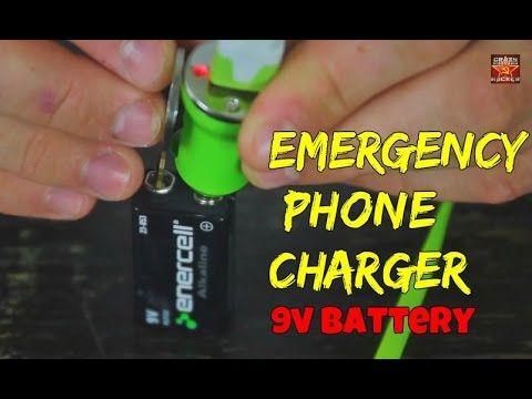 Emergency phone charging w/ a 9v battery.