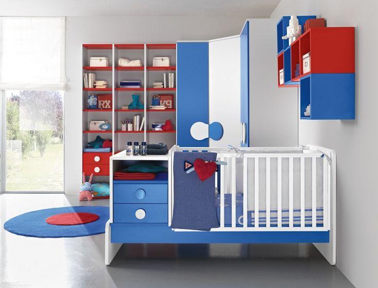 Camerette baby | Culla e armadio in Rosso, Bianco e Cobalto | Colombini