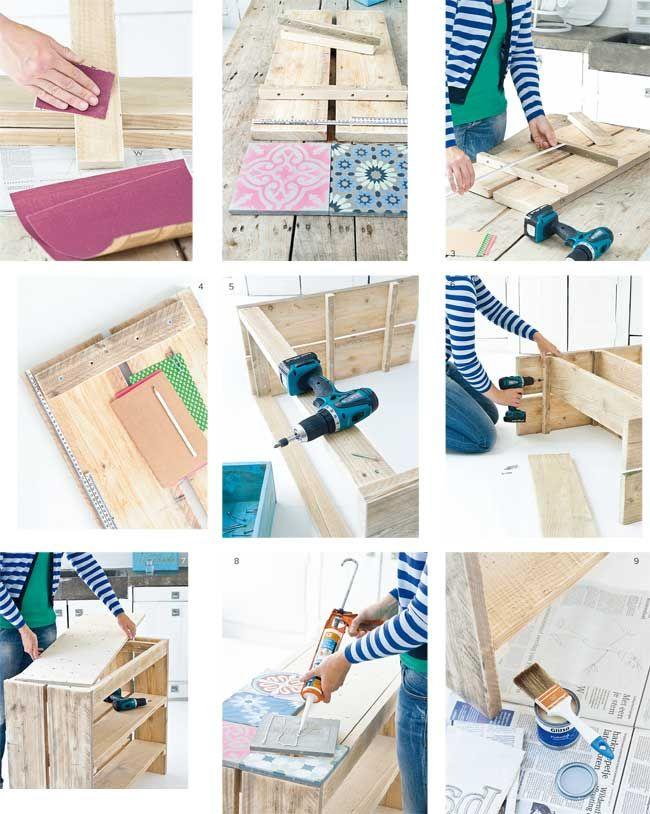 regardsetmaisons: Bricolage (facile) en planches et carreaux de ciment - DIY-