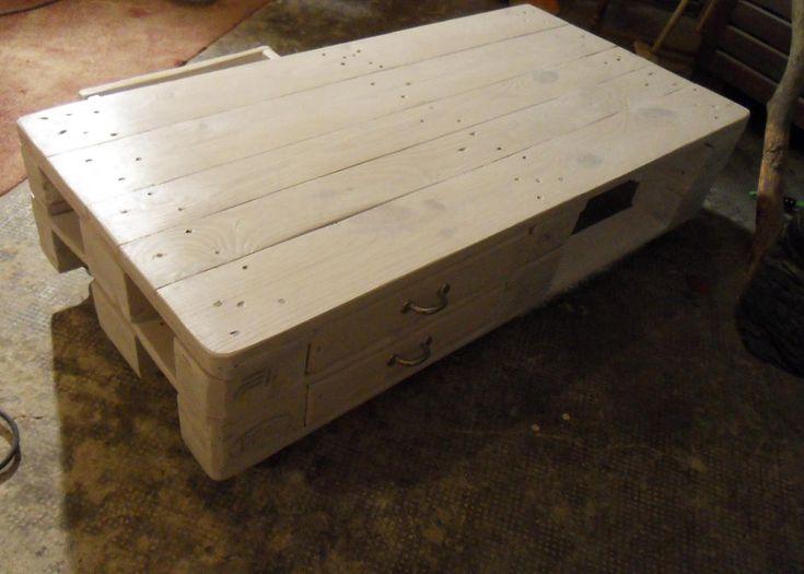 Paletten-Couchtisch/Palettentisch 2: zwei Etagen, bessere Schubladenführung, weiß lasiert: Palettenbett und Palettenmöbel, Howto
