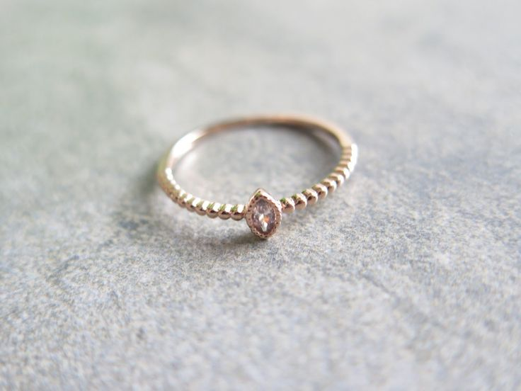 Oval CZ silver ring / Sterling silver point CZ Ring / 925 silver stacking ring / Simple CZ ring / Rose gold Ring by thinlight on Etsy