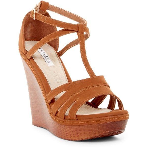 Kayleen Laula Wedge Sandal ($37) ❤ liked on Polyvore featuring shoes, sandals, camel, platform sandals, strappy wedge sandals, open toe sandals, strap wedge sandals and camel wedge sandals