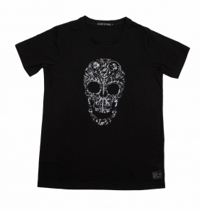 B-side SKULLY CREW NECK TEE BLACK £42.00