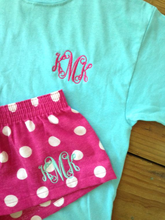 Monogram Tee and Boxer Short Set Polka PJ Short Sleeve Monogrammed Tee Personalized Initials