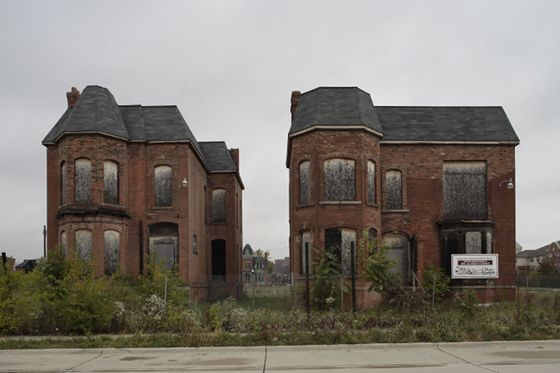 Two abandoned Victorians in Detroit, circa 2009.