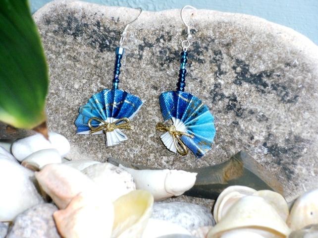 Blue Origami Fan Drop Earrings £6.00