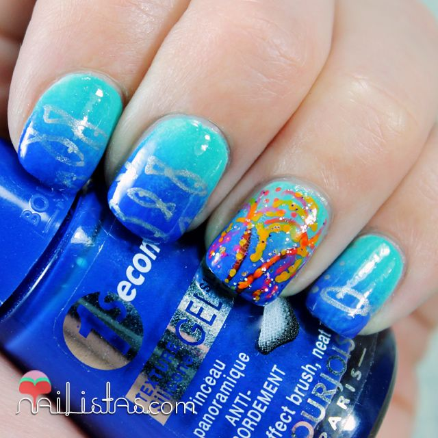 Best 25 firework nails ideas on pinterest firework nail art fish and fireworks nail artis is so cute i wish i could do that prinsesfo Image collections