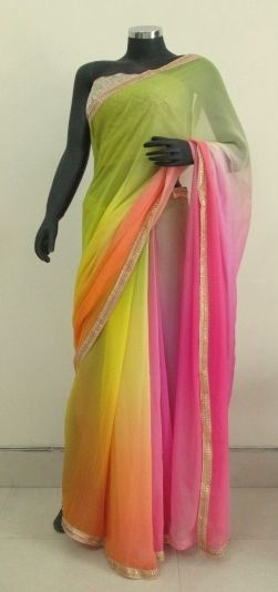 Multi shaded Georgette Saree with an embellished trim
