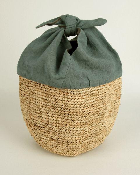 basket tote 【ラフィアとリネンのあずまバッグ 青磁】【包装】【のし】picknick