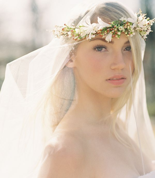 DIY Wedding Flower Crown Over a Drop Veil
