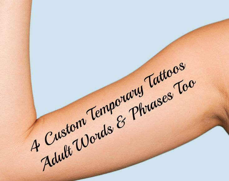 4 custom temporary tattoos printed with your name words