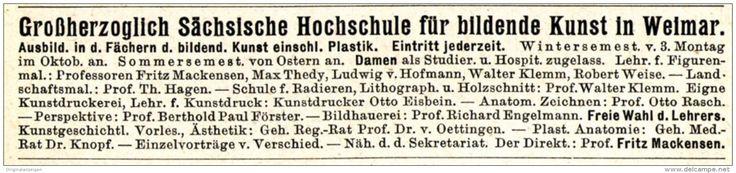 Original-Werbung/ Anzeige 1915 - GROSSHERZOGLICH SÄCHSISCHE HOCHSCHULE FÜR BILDENDE KUNST IN  WEIMAR - ca. 115 x 20