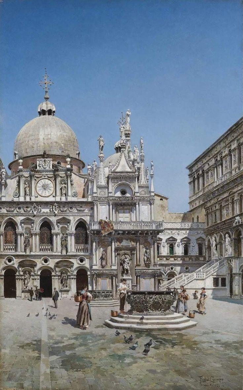 Cour intérieure du Palais des Doges, Venise - Federico del Campo (1838-1923)
