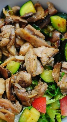 Perfect for summer time grilling -Mushroom, Chicken and Zucchini Salad