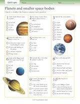 Quick Quizzes: Planets and Smaller Space Bodies Printable (Gr. 3-6) - TeacherVision.com