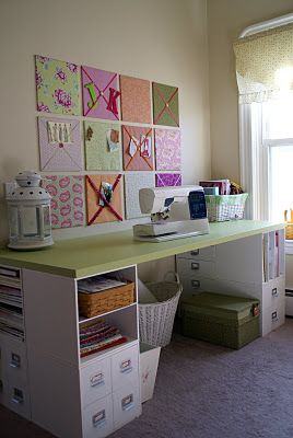 Sewing table made from an old door and Michael's storage units