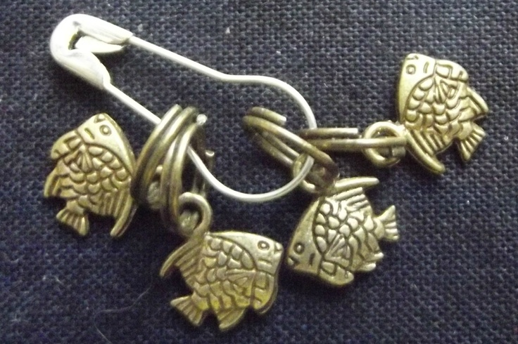 Antique bronze fish shaped stitch markers