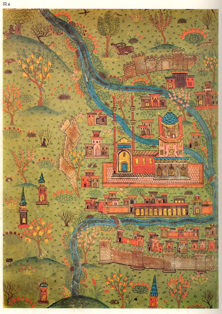 16th century map of Soltaniyeh City, Iran by Matrakçı Nasuh