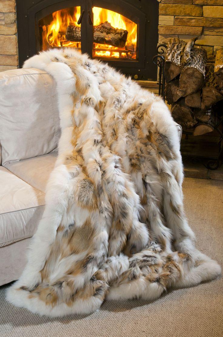 Golden Island Fox Fur Blanket by Overland Sheepskin Co. (style 17765)
