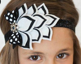 Felt Headband - Modern Wedding - 100% USA made felt - Black and White - Layered Felt Flower Headband - Wool blend felt Baby Child Teen Adult