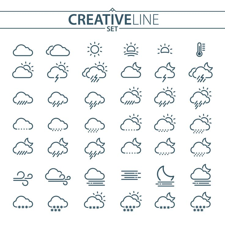 Thin Line Weather Icons Set