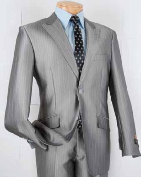 SKU#SL3532 Mens Single Breasted 2 Button Herringbone Stripe Slim Fit Suit Silver $139 Mens Discount Suits By Style and Quality 2 Button Suits